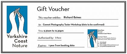 Gannet Photography 1 to 1 Workshop Gift Voucher