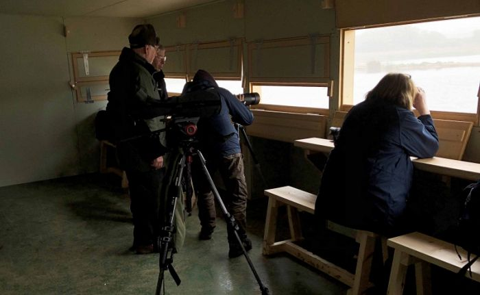 YCN Birding Group in the new Filey Dams Hide © Richard Baines