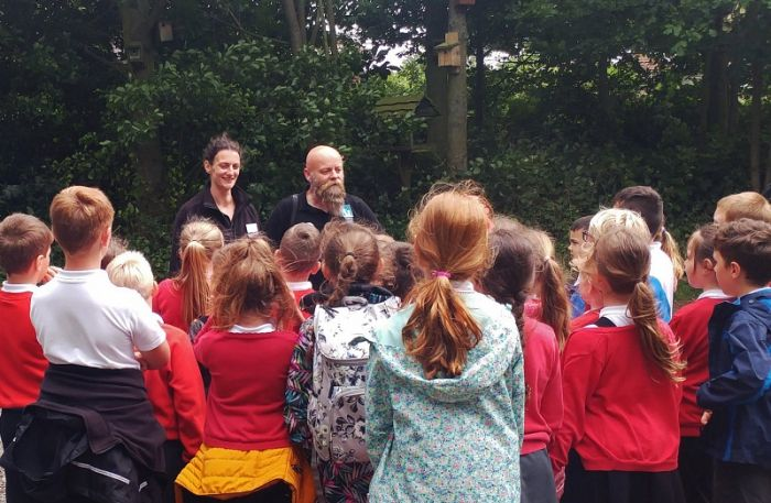 Mark and Kate with some of the 60 Filonian nature detectives!