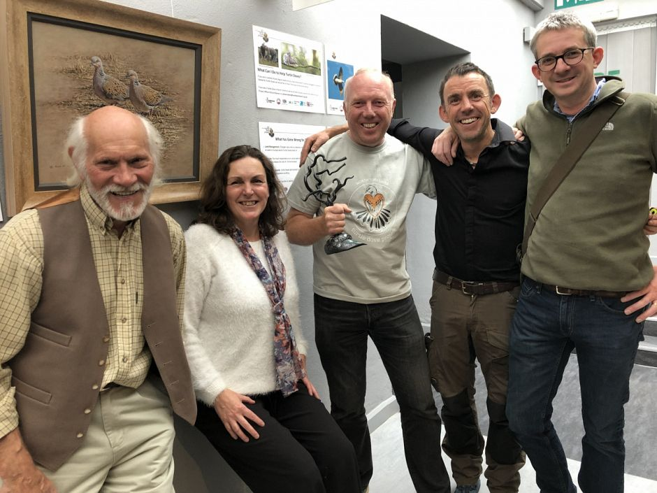 Our Turtle Dove Art event with Alan Hunt, Petra Young, me with the project trophy, Darren Woodhead and Jonathan Pomroy © Jo Ruth